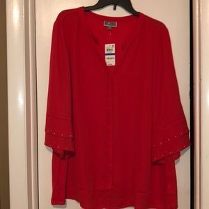 NWT JM Collection Red Blouse